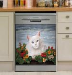 White Cat And Flower Dishwasher Cover Sticker Kitchen Decor