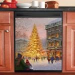 Warm Christmas Atmosphere Dishwasher Cover Sticker Kitchen Decor