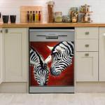Zebra Couple Dishwasher Cover Sticker Kitchen Decor