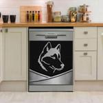Siberian Husky Metal Style Pattern Dishwasher Cover Sticker Kitchen Decor