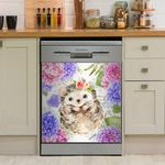 Sweet Hedgehog Pastel Flowers Dishwasher Cover Sticker Kitchen Decor