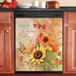 Sunflowers And Butterfly Dishwasher Cover Sticker Kitchen Decor