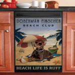 Vintage Beach Club Is Ruff Doberman Pinscher Dishwasher Cover Sticker Kitchen Decor
