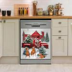Vizsla Happy Pine Pattern Dishwasher Cover Sticker Kitchen Decor