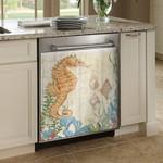 Vintage Seahorse Ocean Dishwasher Cover Sticker Kitchen Decor