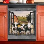 Three Daisies Cow Farm View Through Window Dishwasher Cover Sticker Kitchen Decor