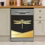 Simple Dragonfly Golden Dishwasher Cover Sticker Kitchen Decoration
