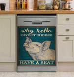 Why Hello Sweet Cheeks Pig Dishwasher Cover Sticker Kitchen Decor