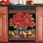 Tall Poinsettias Dishwasher Cover Sticker Kitchen Decor