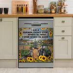 I Am A Farmer I Don't Stop Sunflower Dishwasher Cover Sticker Kitchen Decor