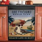 Vintage Beach Club Is Ruff Greyhound Dishwasher Cover Sticker Kitchen Decor