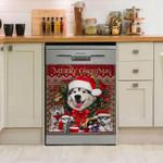 Siberian Husky Merry Christmas Pattern Dishwasher Cover Sticker Kitchen Decor