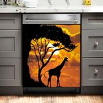 Giraffe In The Sunset Dishwasher Cover Sticker Kitchen Decor