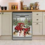 St. Bernard Dog Happy Together Snow Pattern Dishwasher Cover Sticker Kitchen Decor