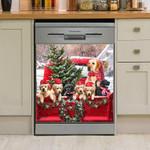 Labrador Family Christmas Dishwasher Cover Sticker Kitchen Decor