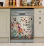 Hummingbird Today Only Happiness Once Make It Amazing Dishwasher Cover Sticker Kitchen Decor