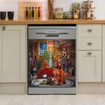 Irish Setter Christmas House Pattern Dishwasher Cover Sticker Kitchen Decor
