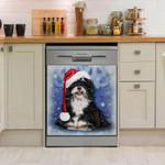Lhasa Apso Blue Christmas Dishwasher Cover Sticker Kitchen Decor