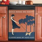 Vintage Girl Dogs Make Me Happy Chihuahua Dishwasher Cover Sticker Kitchen Decor