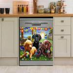 Golden Retriever Play Ground Pattern Dishwasher Cover Sticker Kitchen Decor