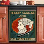 Keep Calm And Call Your Barber Dishwasher Cover Sticker Kitchen Decor