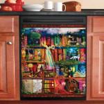 Treasure Hunt Bookshelf Fantasy World Dishwasher Cover Sticker Kitchen Decor