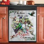 Hummingbirds I Believe There Are Angels Among Us Dishwasher Cover Sticker Kitchen Decor