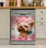 Yorkshire Terrier Pink Cherry Blossoms Dishwasher Cover Sticker Kitchen Decor