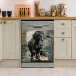 Friesian Horse Dark Dishwasher Cover Sticker Kitchen Decor