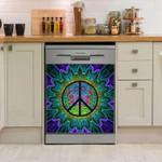 Hippie Purple Peace Dishwasher Cover Sticker Kitchen Decor