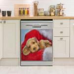 Golden Retriever With Santa Pattern Dishwasher Cover Sticker Kitchen Decor