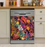 Floral And Bird Dishwasher Cover Sticker Kitchen Decor