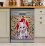 I Am Fearless Cute Cat Dishwasher Cover Sticker Kitchen Decor