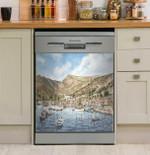 Greek Seaport Town Dishwasher Cover Sticker Kitchen Decor