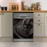Guitar Black Electrical Guitar Dishwasher Cover Sticker Kitchen Decor