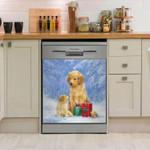 Golden Retriever Christmas Gift Pattern Dishwasher Cover Sticker Kitchen Decor