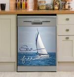 Let The Sea Dishwasher Cover Sticker Kitchen Decor