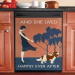 Vintage Girl Lived Happily Cavalier King Charles Dishwasher Cover Sticker Kitchen Decor
