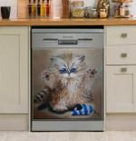 Fuzzy Cute Cat Dishwasher Cover Sticker Kitchen Decor