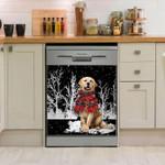 Golden Retriever Snowy Night Pattern Dishwasher Cover Sticker Kitchen Decor