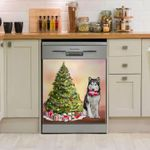 Siberian Husky Christmas Tree Pattern Dishwasher Cover Sticker Kitchen Decor