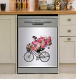 Floral Woman Dishwasher Cover Sticker Kitchen Decor