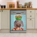 Funny Weimaraner Dog Dishwasher Cover Sticker Kitchen Decoration