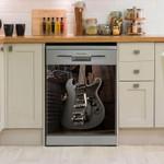 Guitar Black Electric Guitar Dishwasher Cover Sticker Kitchen Decor