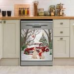 Golden Retriever And Car Pattern Dishwasher Cover Sticker Kitchen Decor