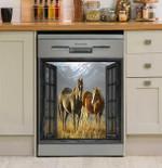 Horse Love Yellow Meadow Mountain Through Window Dishwasher Cover Sticker Kitchen Decor