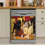Funny Two Retriever Dogs Dishwasher Cover Sticker Kitchen Decor