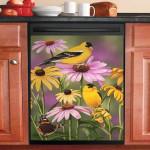 Golden Finches Bird Dishwasher Cover Sticker Kitchen Decor