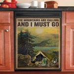 Vintage The Mountains Are Calling Camping Dishwasher Cover Sticker Kitchen Decor