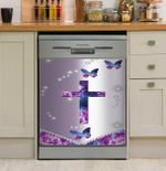 Jesus Cross And Butterfly Dishwasher Cover Sticker Kitchen Decor